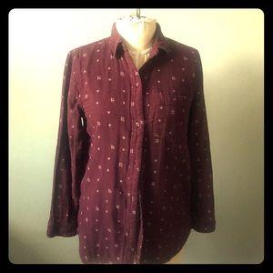 Madewell maroon burgundy flannel shirt xs